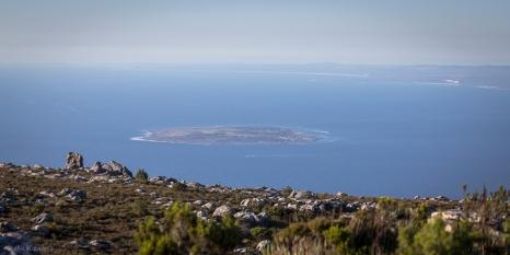 Robben Isalnd vista dalla Table mountain, questa isola Atlantica è stata per molti anni la Prigione di Nelson Mandela